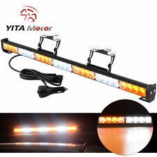 """31"""" 28 LED Waterproof LED Emergency Strobe Light Bar Traffic Advisor Amber/White"""