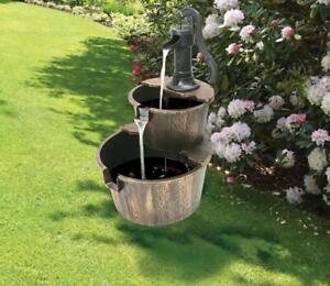 Deluxe Water Pump Feature Fountain Antique Wood Effect Barrels Garden Decor 1125
