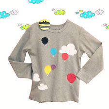 Hot Air Balloons Girl Long Sleeve Top Sweater 100% Cotton (18M - 6 Years)