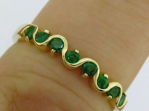 R108 Genuine 9K Gold Half- Eternity Anniversary Wave Stackable Ring in your size