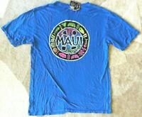 Maui and Sons Mens T Shirt XL Blue Hawaii Surf Swim Ocean Wave Logo New