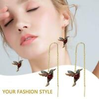 Elegant Birdie Drop Crystal Dangle Earrings For Women Long Tassel Classic J9A8