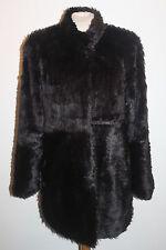 Black Dennis Basso Mink Look faux fur jacket  with shaped hem - Large & New