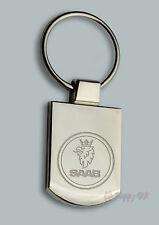 Personalised SAAB Design keyring BOXED engraved Free - Metal Key ring