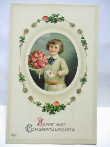 1910 POSTCARD HEARTIEST CONGRATULATIONS, BOY WITH BOUQUET OF ROSES