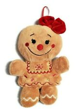Gingerbread Girl Plush Doll Red Bow Christmas Cookie Dan Dee Loop for Display 8""