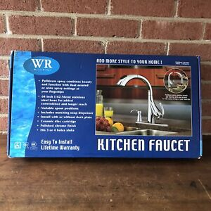 Water Ridge Pull-Out Kitchen Faucet Polished Nickel w/ Soap Dispenser
