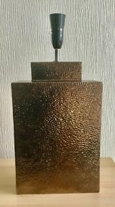 """Large Ceramic Table Lamp By NEXT Beaten Copper Finish 19"""" High"""