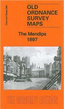 Old Ordnance Survey Mappa il mendips, Axbridge, Cheddar, Shepton Mallet 1897