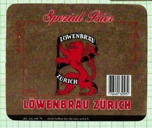 SWITZERLAND Löwenbräu Zürich Spezial Bier 58cl lion beer label B107 001