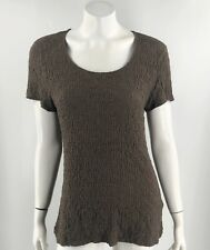 Croft Barrow Top Size XL Brown Crinkle Texture Short Sleeve Shirt Solid Womens