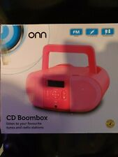 onn CD & Radio Pink Boombox