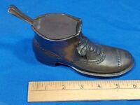 Antique RARE Bronze Brass Men's Dress Shoe Inkwell Hinge Old VTG