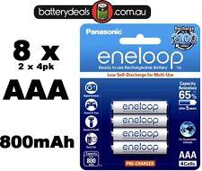 8 Panasonic eneloop rechargeable AAA batteries HR03 Ni-MH 800mAh BK-4MCCE/4BA