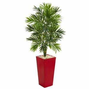Luxury Multicolor 4.5' Areca Artificial Palm Tree in Red Planter - 4.5 Ft.