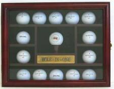 15 Golf Ball Display Case Rack Holder, Hole In One, REAL glass door, GB04-CHE