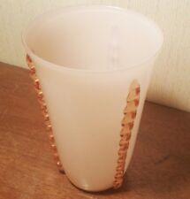 PINK DECO vtg art glass vase opaline acid etched CZECHO-SOLVAKIA bohemian signed