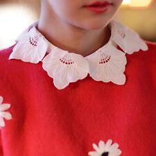 New Lady's Cotton Fake Petal Collar Detachable Lapel Choker White Half Shirt