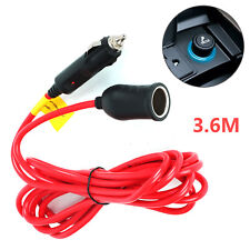 Car 12V 3.6M Cigarette Lighter Extension Cable Lead Charger Power Socket Adapter