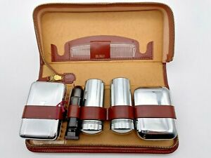 New Vintage Mens Grooming Kit Zipped Leather Case Gillette Razor Comb Shaving