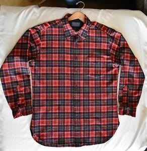 Vintage Pendleton Shirt  Wool Red Blue Gold Pattern Size Large