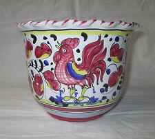 """5.5"""" x 7"""" Sambuco Ceramiche d'Arte Deruta Hand-Turned Jardiniere Pot Red Rooster"""