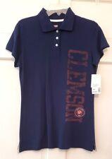 Woman Polo Shirt Soffe Clemson Navy Jr Ivy League 3 Button Neck S/S Cotton NWT L