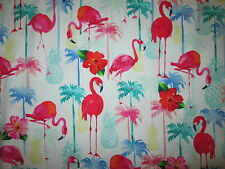FLAMINGOS BIRDS FLAMINGO PINEAPPLES PALM TREES COTTON FABRIC BTHY