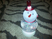 """Hallmark 2007 SNOWMAN SNOW GLOBE 7"""" Changes Colors CONTINUOUS SWIRLING SNOW New"""