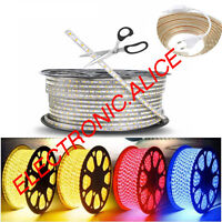 1M-20M SMD 5050 LED Strip 220V 230V 60leds/m Flexible tape rope Light Waterproof