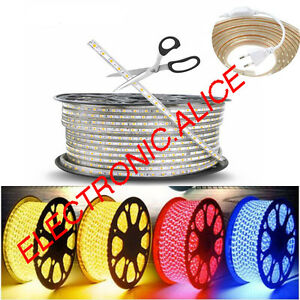 Hot 1M-10M Waterproof SMD 5050 LED Strip 220V 60leds/m Flexible tape rope Light