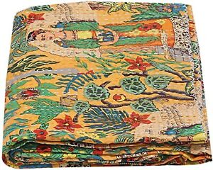 Indian Handmade Frida Kahlo Print Yellow Kantha Quilt Coverlet 90x60 Inches