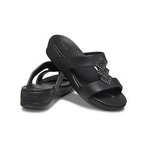 Crocs 207143 MONTEREY SHIMMER Ladies Womens Summer Beach Mule Sandals Black