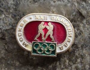 1980 Moscow Russian Summer Olympic Games Boxing Fight Boxers Event Pin Badge