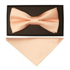Plain Light Peach Mens Bow and Pocket Square Set Wedding Tie Pre Tied Dickie Bow