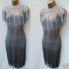 Karen Millen GATSBY 20'S FLAPPER ART NOUVEAU CHARLESTON CROCHET DRESS KM-1/8 UK