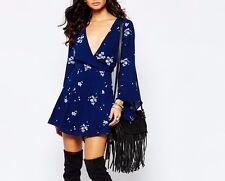 126301 New $148 Free People Jasmine Embroidered Almond Blue Tunic Dress M US