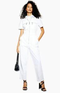 Ex Topshop Ecru Short Sleeve Denim Boiler Suit UK 6 (ts1.4.2)