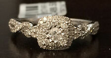 White Square Halo Flower Diamond  VIntage Antique  Engagment Bridal Ring