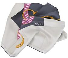 New Gucci Women's 352213 Silk Cream Black Interlocking GG Twill Neck Scarf