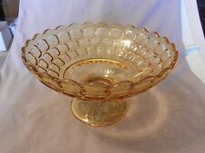 "Amber Glass Pedestal Fruit Bowl Scalloped Edges With Squares 5.5"" Tall (M)"