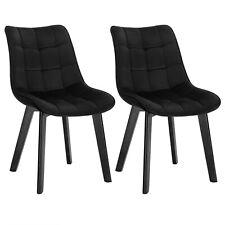 2 x Esszimmerstühle Küchenstuhl mit Lehne aus Samt Holz Schwarz BH274sz-2