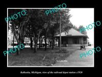 OLD LARGE HISTORIC PHOTO OF KALKASKA MICHIGAN THE RAILROAD STATION c1920