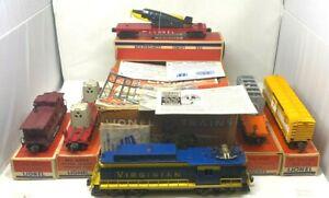 LIONEL Postwar 2505W Virginian 5-Car Super-O Diesel Freight Train Set Boxed Rare