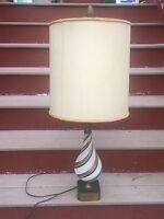 Vtg Mid Century Murano Italy Table Lamp Hand Blown Copper Swirl Art Glass