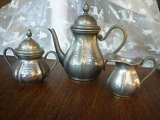 3 x Mokka Kanne Zinnkanne Zuckerpott Milchkännchen Kaffee - Tee -kern 19.Jahrh.