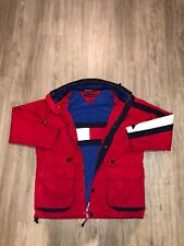 TOMMY HILFIGER Vintage Water Stop Snap & Zip Up Red Jacket w/ Lining Mens Size M