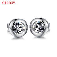 Round Design Stud Earring Women Men Silver Stainless Steel CubicZirconia Jewelry