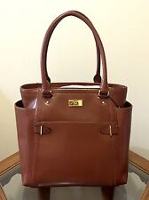 New LAUREN Ralph Lauren CHISWELL Leather Tote Bag in Bourbon Brown NWT$348