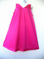 "Vtg Vanity Fair Nightgown Silky Nylon Nice Sweep Short Fuchsia Satin Trim B 48"""
